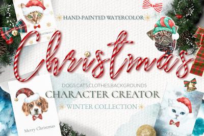 Christmas Animal Creator. Watercolor Dogs & Cats SALE
