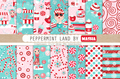 PEPPERMINT LAND digital papers