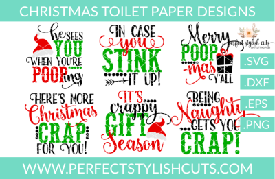 SALE! Christmas Toilet Paper Designs Collection - SVG, EPS, DXF, PNG Files For Cutting Machines