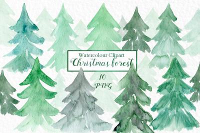 Watercolour christmas trees. Watercolour clip art.