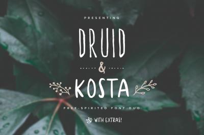 Druid & Kosta Font Duo + Extras