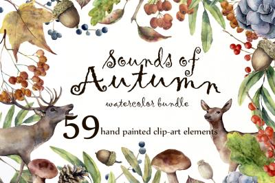 Sounds of Autumn. Watercolor clip arts