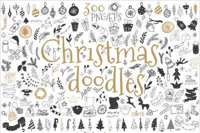 300 Christmas doodle icons and design elements ClipArt