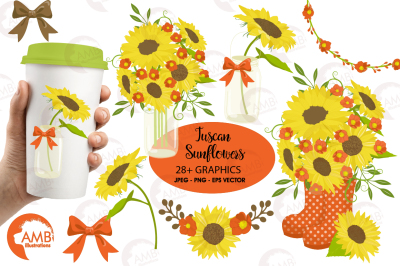 Sunflower clipart, graphics, illustrations AMB-1434