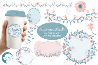 Floral embellishments, bridal Shower clipart, Wedding embellishments, Save the date, Floral clipart, AMB-1420