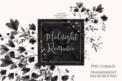 Midnight Romance Watercolor Floral Clipart