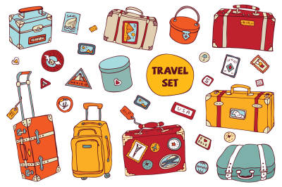 Travel set. Vintage suitcases