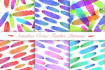 Vector Colorful Feathers. Seamless Patterns