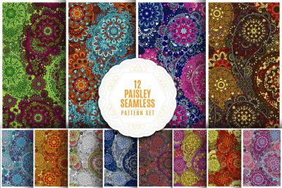 Vector paisley seamless pattern set