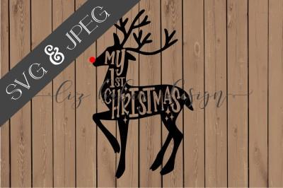 Reindeer First Christmas Cut File SVG JPEG