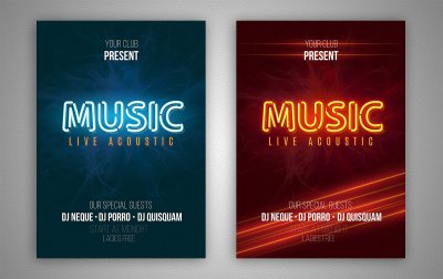 Set of neon music flyer with neon AI style!