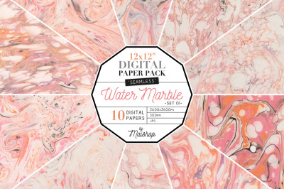 Seamless Digital Paper Pack  I  Water Marble - Set 01
