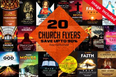 20 Church Flyer Template Bundle Vol:03