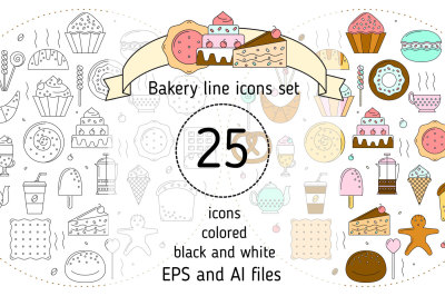 Bakery icons set