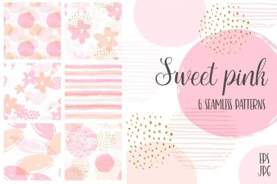 Sweet Pink. 6 seamless patterns.