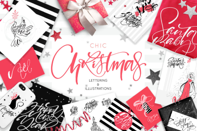 Chic Christmas Lettering & Clipart