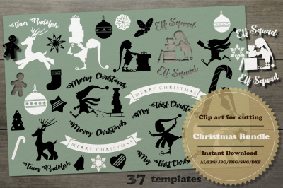 Christmas Silhouette Bundle. Cut file SVG.