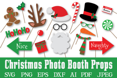 Christmas Photo Booth Props -  SVG Cut File - DXF - PNG - JPEG - PDF - EPS - AI