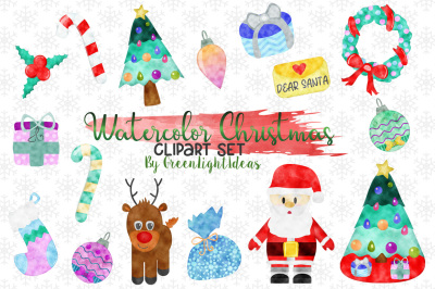 Watercolor Christmas Clipart, Christmas Graphics, Holidays Clip Art