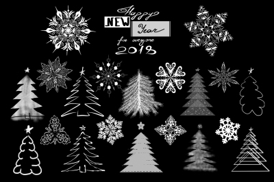 Fir-trees and snowflakes set