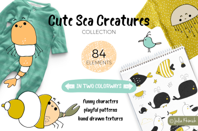 Cute Sea Creatures, illustrations & patterns