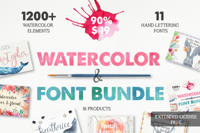 Watercolor & Font Bundle
