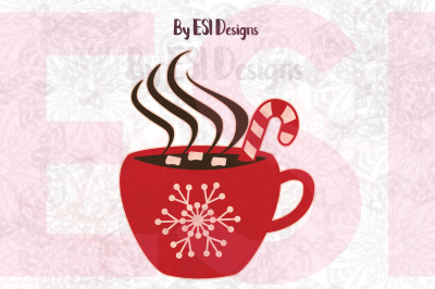 Christmas Hot Chocolate Mug with Marshmallows. - SVG, DXF, EPS & PNG