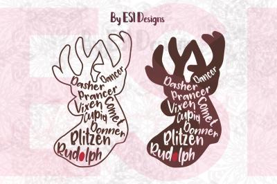 Reindeer Names - SVG, DXF,EPS & PNG