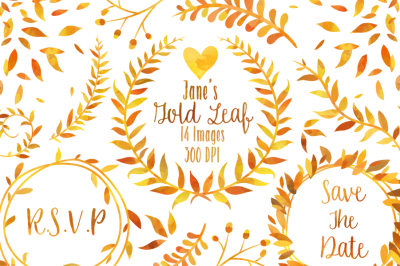 Watercolor Gold Leaf Clipart
