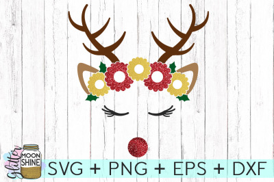 Flower Crown Reindeer SVG PNG DXF EPS Cutting Files