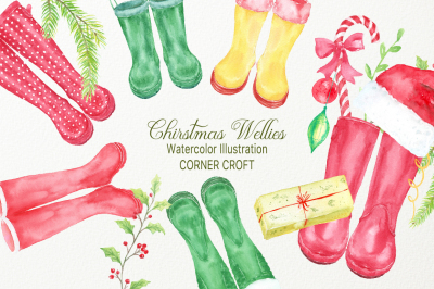 Watercolor Christmas Wellies, Rubber boots