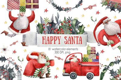 Happy Santa - Watercolor Clip Art Set