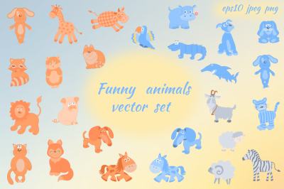 Funny animals vector set