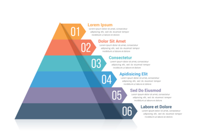 Pyramid Infographics with 6 Elements