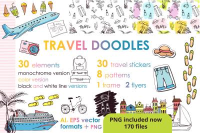 Let's travel doodles. Big set