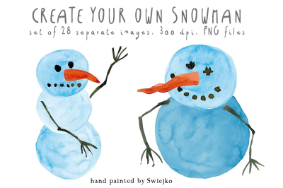 Snowman clipart set, watercolor illustration