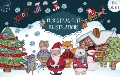 A Christmas cute illustrations set