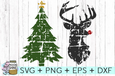 Distressed Christmas Bundle SVG PNG DXF EPS Cutting Files