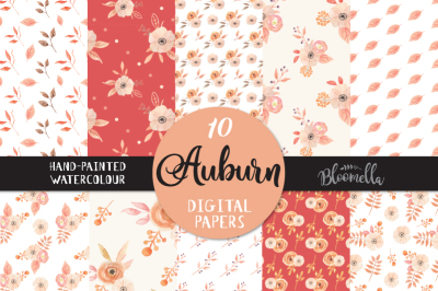 Watercolour Floral Digital Papers Autumn Fall Pretty Flower Seamless Patterns
