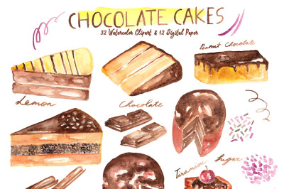 Chocolate Cakes Watercolor Clipart