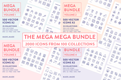 Line Icons – Mega Bundle Vol 1-4 (25% off)