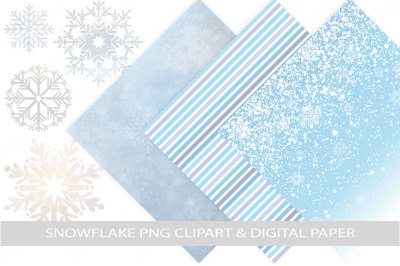 Snowflake Clipart and Winter Digital Paper