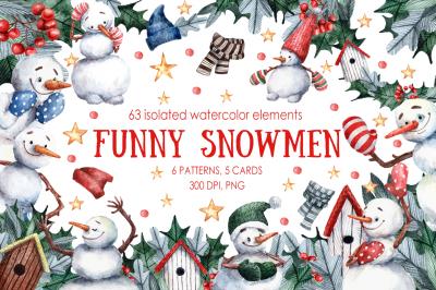 Funny Snowmen - Watercolor Clip Art Set