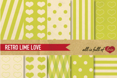 Vintage Backgrounds in Lime Green: Love Collection