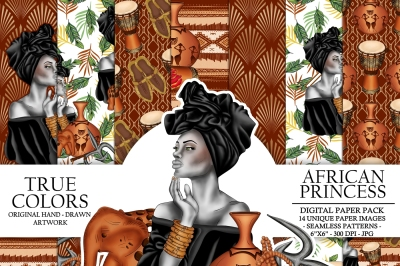 African Princess Digital Paper Pack Beautiful Black Fashion Illustration Planner Stickers Supplies Seamless Brown Gold Watercolor Background