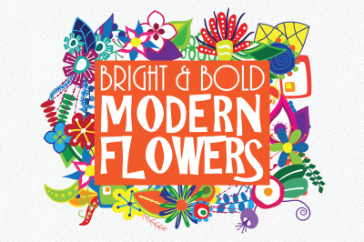 Bright and Bold Modern Flowers - 175 Clip Art Elements
