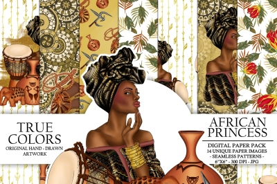 African Princess Digital Paper Pack Beautiful Black Fashion Illustration Planner Stickers Supplies Seamless Copper Watercolor Background