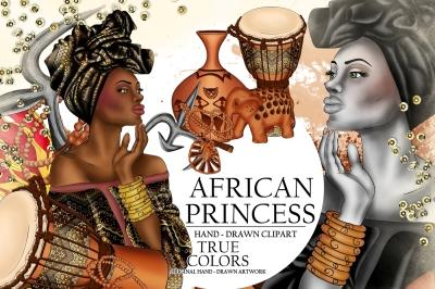 African American Princess Clip Art Beautiful Black Woman Fashion Illustration Planner Stickers Supplies Watercolor Flower Elephant DIY