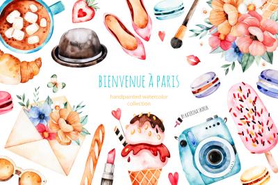 Bienvenue a Paris.Watercolor set.