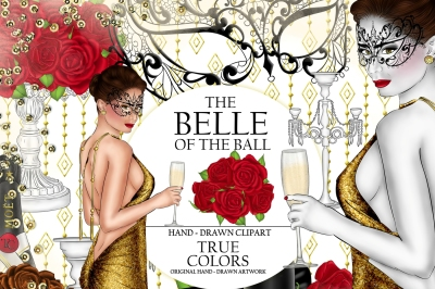 The Belle of the Ball Clip Art Ball Girl Fashion Illustration Planner Stickers Supplies Watercolor Champagne Red Rose Mask Red Sticker DIY